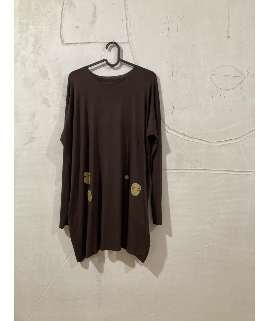 simple and dark brown tunic XS